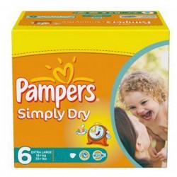 Pack d'une quantité de 62 Couches de la marque Pampers Simply Dry de taille 6 sur Tooly