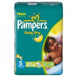 Pack 41 Couches Pampers de la gamme Baby Dry taille 5 sur Tooly