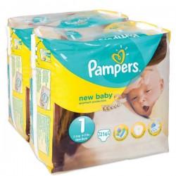 Pack économique de 216 Couches de la marque Pampers New Baby taille 1 sur Tooly