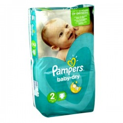 Pack 44 Couches Pampers Baby Dry de taille 2 sur Tooly