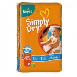 Pack de 46 Couches Pampers Simply Dry de taille 4 sur Tooly