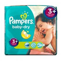 Pack d'une quantité de 68 Couches de la marque Pampers Baby Dry taille 3+ sur Tooly