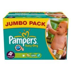 Maxi Pack d'une quantité de 210 Couches Pampers de la gamme Baby Dry de taille 4+ sur Tooly