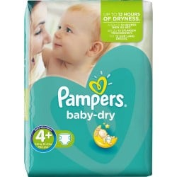Pack 42 Couches Pampers Baby Dry taille 4+ sur Tooly