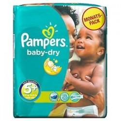 Pack d'une quantité de 43 Couches Pampers Baby Dry taille 5+ sur Tooly