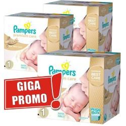 Pack économique Jumeaux de 1012 Couches Pampers de la gamme Premium Care taille 1 sur Tooly