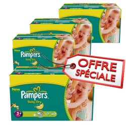 Giga Pack 680 Couches Pampers Baby Dry de taille 3+ sur Tooly