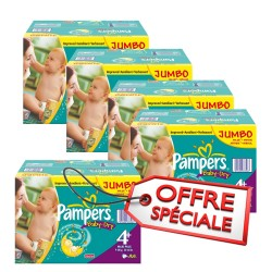 Maxi giga pack jumeaux d'une quantité de 1008 Couches Pampers de la gamme Baby Dry de taille 4+ sur Tooly