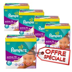 Maxi Giga Pack Jumeaux 870 Couches Pampers Active Fit taille 5+ sur Tooly