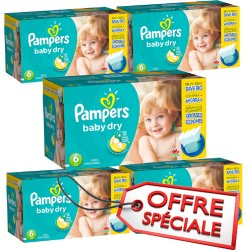 Maxi Giga Pack Jumeaux de 627 Couches Pampers Baby Dry de taille 6 sur Tooly