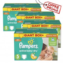 Maxi pack 448 Couches Pampers Active Baby Dry de taille 5 sur Tooly