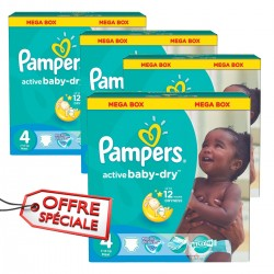 Giga pack 912 Couches Pampers Active Baby Dry de taille 4 sur Tooly