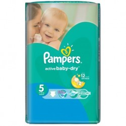 Pack 58 Couches Pampers de la gamme Active Baby Dry de taille 5 sur Tooly