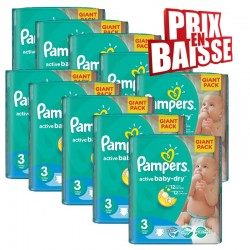 Gros pack 592 Couches Pampers de la gamme Active Baby Dry taille 3 sur Tooly