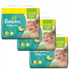 Maxi Mega pack 114 Couches Pampers Baby Dry taille 6+ sur Tooly