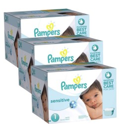 Maxi Pack 504 Couches Pampers New Baby Sensitive taille 1 sur Tooly